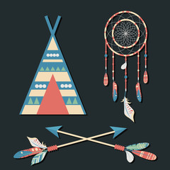 Vector dream catcher with colorful feathers, wigwam and crossed arrows on dark background. Elegant tender design for card, website, wrapping, background. Ethnic boho  elements of nature