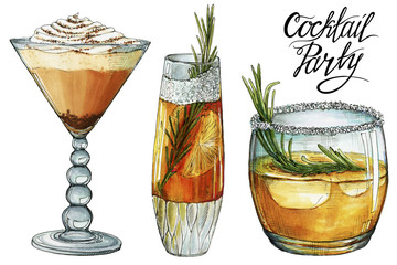 Cocktail party hand painted marker drawings