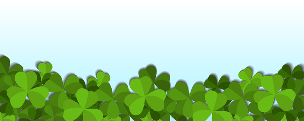 St. Patrick's day vector horizontal background with shamrock leaves
