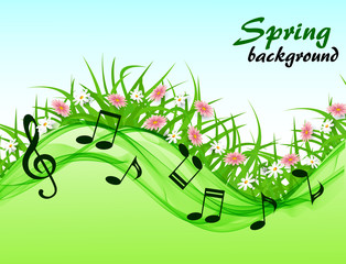 Abstract spring background with music notes and a treble clef