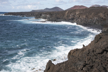 Coastal scene south of El Golfo on Lanzarote, Canary Islands.s.