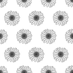 Vector floral seamless pattern. Black and white background with outline hand drawn chamomile flowers. Spring design concept for fabric, textile print, wrapping paper or web backgrounds.