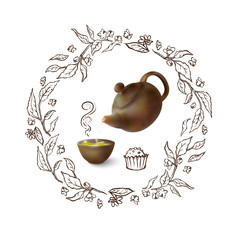 Vector 3d illustration of a tea party. From the kettle filled with hot cup of tasty drink. Teapot, bowl on a neutral background. Hand-drawn sketch frame of the tea leaves and flowers.