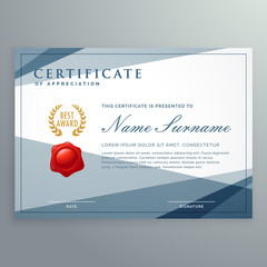 certificate template design with modern geometric shapes vector