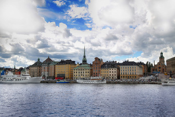 View of Gamla Stan from bridge Skeppsholmsbron in Stockholm, Sweden
