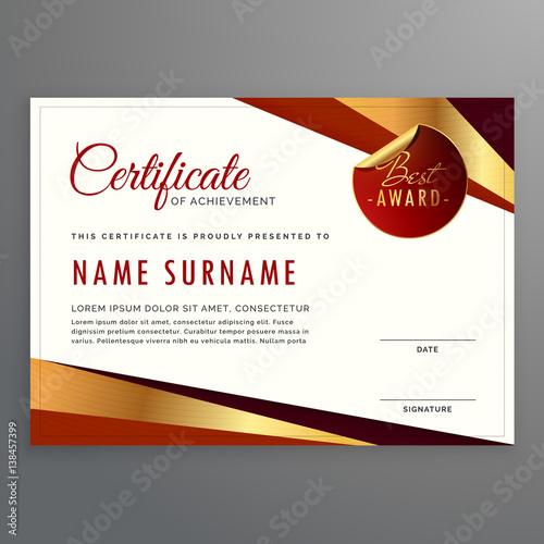 "Elegant Marriage Certificate Template Golden Edition: ""luxury Certificate Template Design With Elegant Golden"
