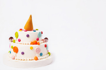 Toy cake on a white background