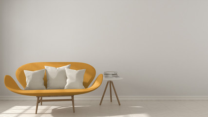 Scandinavian minimalistic background, with orange sofa on herringbone natural parquet flooring, interior design