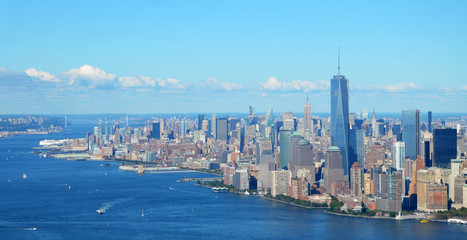 New York, USA, September 28, 2013: New York Harbor with Empire State Building and Hudson River, Aerial view