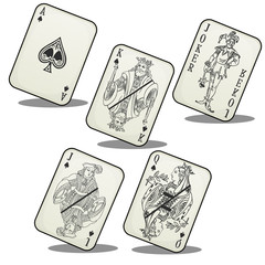 Playing cards, Jack, Queen, King, ACE and Joker