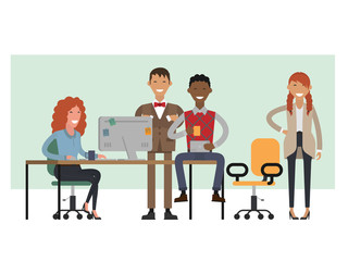 Scenes of people working in the office. Vector illustration flat