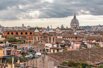 landscape of Rome with cloudy sky