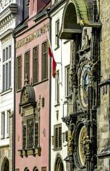 Prague, city center, city hall, famous clock tower, Czech Republ