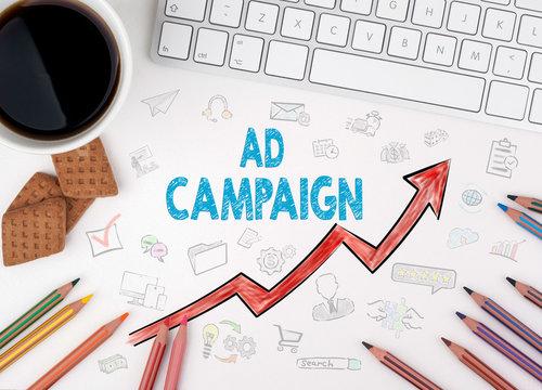 Ad Campaign, Business Concept. White office desk.