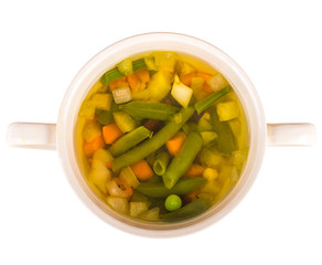 vegetable soup on a white background