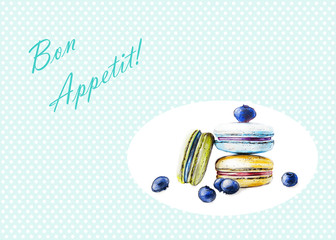 Macarons with berries - Hand Drawn Sketch - Bon Appetit