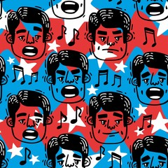 pattern funny faces singing Man blue and red