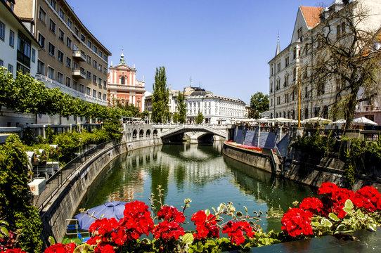 Ljubljana, river Ljubljanica, Slovenia