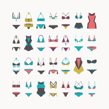 Vector beautiful women swimwear - bikini swimsuit, one-piece swimsuit, waist and swimming trunks collection, hand drawn in geometric style. Flat illustration set for fashion, sport and recreation