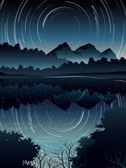 high angle view of Star Trail over deep forest landscape and river when night