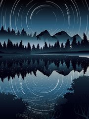 high angle view of Star Trail over pine forest landscape and river when night