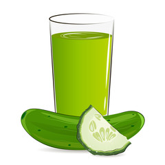 Vector illustration of glass with cucumber juice. Fresh vegetable.