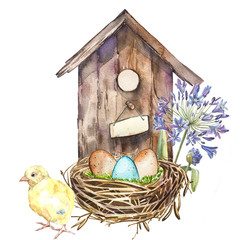 Watercolor birdhouse with Spring flowers, rooster, eggs. Hand painted nesting box isolated on white background. Easter design