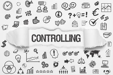 Controlling / weißes Papier mit Symbole