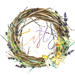 Hand drawn watercolor art Wreath with Spring flowers and word Easter. Isolated illustration on white background.