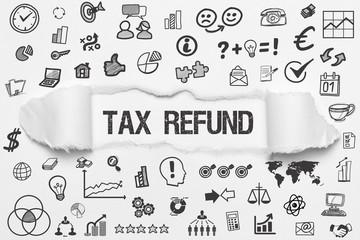 Tax Refund / weißes Papier mit Symbole