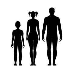 Man, woman, and boy. Human front side Silhouette. Isolated on White Background. Vector illustration.
