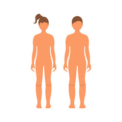 Boy and girl. Human front side Silhouette. Isolated on White Background. Vector illustration.