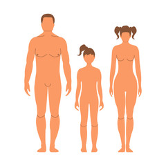 Man, woman, and girl. Human front side Silhouette. Isolated on White Background. Vector illustration.