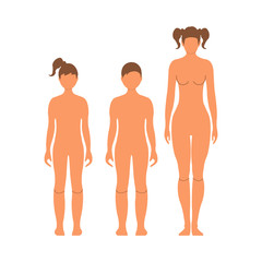 Woman, boy and girl. Human front side Silhouette. Isolated on White Background. Vector illustration.