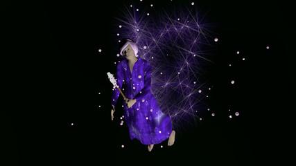 3d Illustration, violette Fee mit Partikeleffekt auf schwarzem Hintergrund