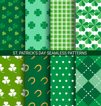 Set of abstract Shamrock seamless patterns for St. Patrick's Day card