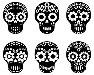 Black and white floral sugar skulls, cute designs in flat style