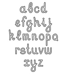 Outline vector hand written alphabet on white background.