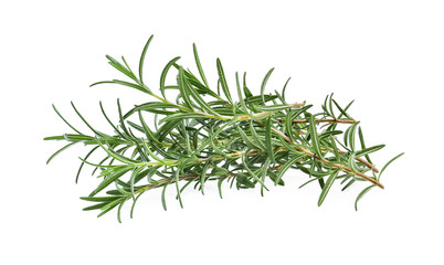 pile of fresh rosemary isolated on white background