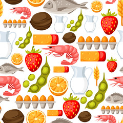 Food allergy seamless pattern with allergens and symbols. Vector illustration for medical websites advertising medications