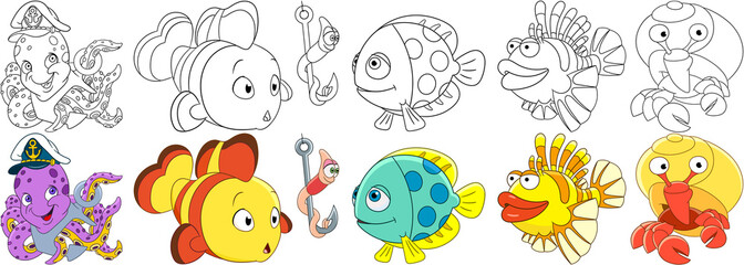 Cartoon underwater animals set. Collection of fishes. Octopus with anchor in a captain hat, clown fish, worm on a fishing hook, lionfish, hermit crab with a shell. Coloring book pages for kids.