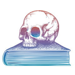 Colorful sketch of human skull on book isolated on white background. Vector illustration