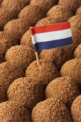 Dutch traditional snack bitterballen full frame with a dutch flag
