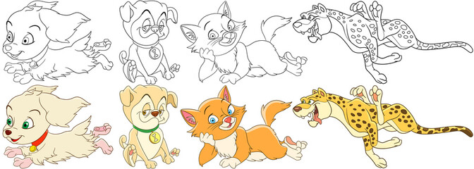 Cartoon animals set. Collection of wild and domestic mammals. Spaniel dog, pug puppy, cat, kitten, cheetah (leopard). Coloring book pages for kids.