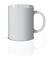 Vector realistic white vector cup isolated on the white background