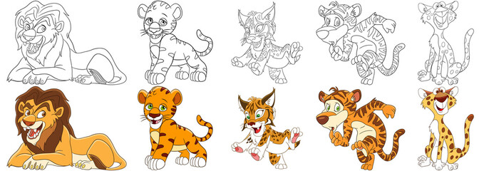 Cartoon animals set. Collection of wild cats. Lion, tiger cub, wildcat (lynx, bobcat, caracal), leopard (cheetah). Coloring book pages for kids.