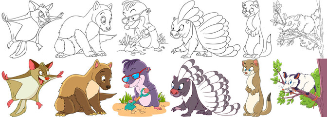 Cartoon animals set. Collection of fluffy rodents. Squirrel, marten, ferret, polecat, mole, porcupine, weasel, otter, opossum. Coloring book pages for kids.
