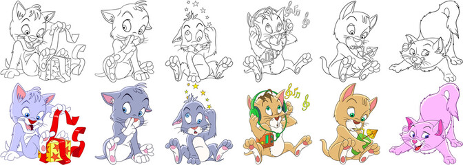 Cartoon animals set. Collection of cats and kittens with different emotions. Coloring book pages for kids.
