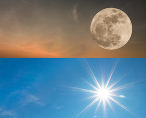 full moon and sun for background with free text space