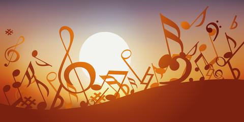 Notes de musique - musique - fond, Coucher de soleil